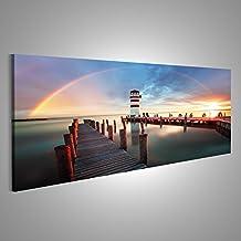 Quadro moderno bellissimo faro con arcobaleno e Boardwalk Stampa su tela - Quadro x poltrone salotto cucina mobili ufficio casa - fotografica formato XXL