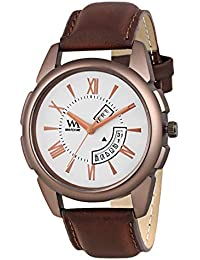 WM White Dial Brown Leather Strap Premium Branded Limited Edition Day And Date Collection Watch For Men DDWM-058...