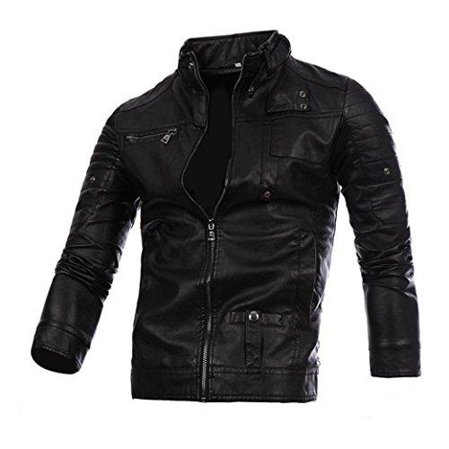 Lederjacke Herren, DoraMe Männer Herbst Winter Motorrad PU-Leder Jacke Biker Outwear Warmen Mantel Reißverschluss Stehkragen Casual Strickjacke (Schwarz, L)
