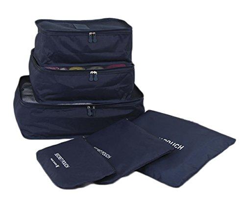 iSuperb® 6 Stück Packing Cubes Kleidertaschen Packwürfel koffer organizer Wasserdicht Packtaschen für Reise Camping Gepäck (Dunkelblau)