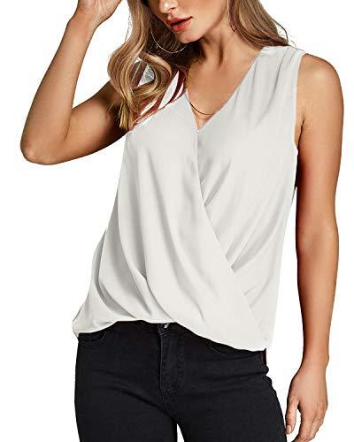 YOINS Bluse Damen Oberteile Elegant Ärmellos Chiffon Blusen Shirt Crop Tops für Damen Sommer Weiß EU46