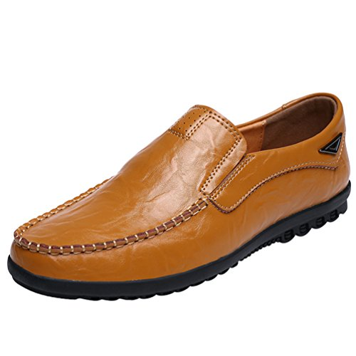 Dooxi uomo elegante durevole piatto mocassini scarpe moda casuale guida scarpe giallo 42
