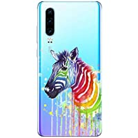 Oihxse Compatible con Huawei Mate 8 Funda Suave Gel TPU Silicona Cristal Transparente Carcasa Acuarela Animal Pintado Patrón Protectora Estuche Bumper Caso Case (B10)