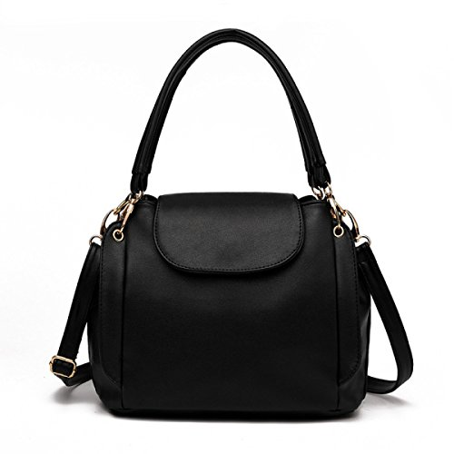 Sacchetto Di Spalla Portatile Signora Messenger Bag Secchiello Tre Cerniera Black
