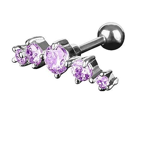 Piercingfaktor Tragus Piercing mit 5 Zirkonia Kristallen - Tanzanite