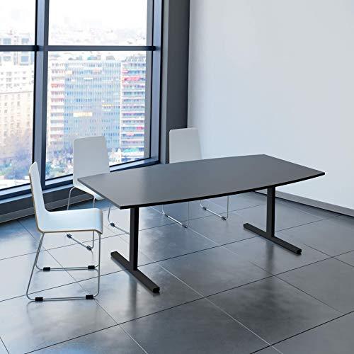 Weber Büro Easy Konferenztisch Bootsform 200x100 cm Anthrazit Besprechungstisch Tisch, Gestellfarbe:Anthrazit
