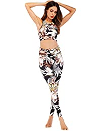 f4e74aa3e73f2 Mallas Leggins Deportivo-Yoga Conjunto de Mujer Conjuntos para Fitness  Running Crop Top and Leggings