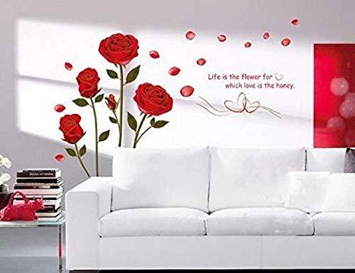 Naisicatar decorazione romantica decalcomanie da muro fiori rosa rossa, adesivi murali soggiorno rimovibili (rose, 1)