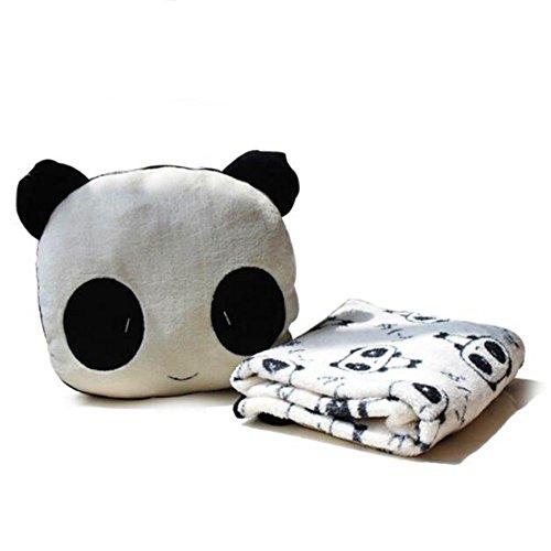 Delmkin Kinderdecke Süß Panda Plüsch Decke & Kissen Kombi-Sets -