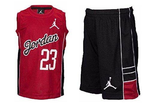 Nike Jordan Kleinkinder Jungen 2-teiliges Set mit kurzen Hosen und Tanktop in Rot/Schwarz/Weiß, Jungen, Black/Gym Red/White, 6