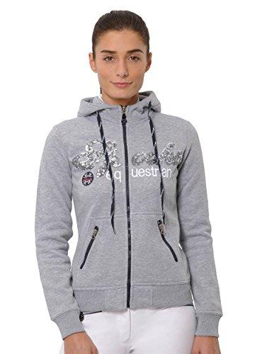 SPOOKS Damen Sweatjacke, Kapuzen-Jacke Mädchen Kinder Frauen, Zipper Hoodie - Sommerjacke bequem & anschmiegsam, Roxie Sequin Jacket - Grau L