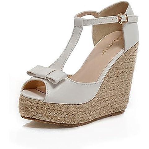 GGX/ Zapatos de mujer - Tacón Cuña - Cuñas / Punta Abierta / Plataforma - Sandalias - Vestido - Semicuero - Rosa / Morado / Blanco , white-us8 / eu39 / uk6 / cn39 , white-us8 / eu39 / uk6 / cn39