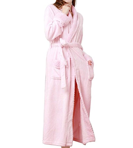 Pronghorn Frauen Winter warme Dicke Fleece Lange Morgenmantel Kleid Robe Nachtwäsche rosa groß - Fleece-roben Frauen Für Lange