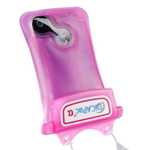 DiCAPac WP-i10 Unterwassertasche (iPhone, bis 10m wasserdicht, Schutz vor Wasser, Sand und Schnee, Schutzhülle, geeignet für iPhone SE / 5 / 4S / 4, iPod und andere kompakte Smartphones bis 12,5 x 7cm pink