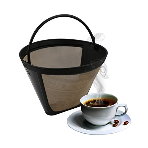 Cone Kaffee-filter (A-szcxtop 304Edelstahl Gold Mesh Filter Universal Konus Permanent Coffee Filter wiederverwendbar und waschbar Kaffee Filter mit Haken Cone Shape)