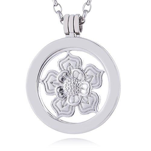 Morella Damen Halskette 70 cm Edelstahl mit Amulett und Coin 33 mm Lotosblume silber in Schmuckbeutel