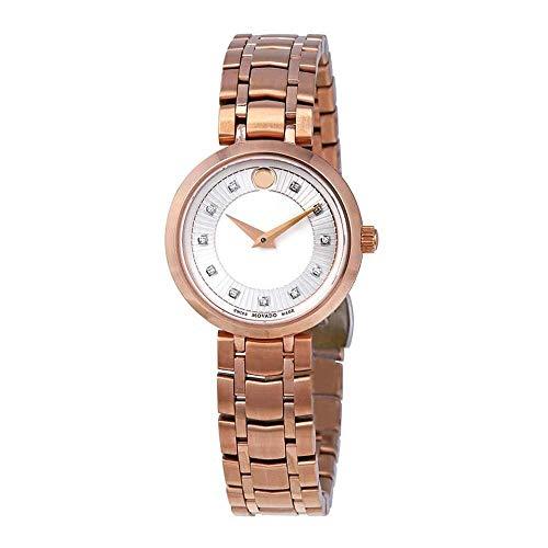 Movado 1881 Femme 28mm Bracelet Acier Inoxydable Rose Quartz Montre 607100