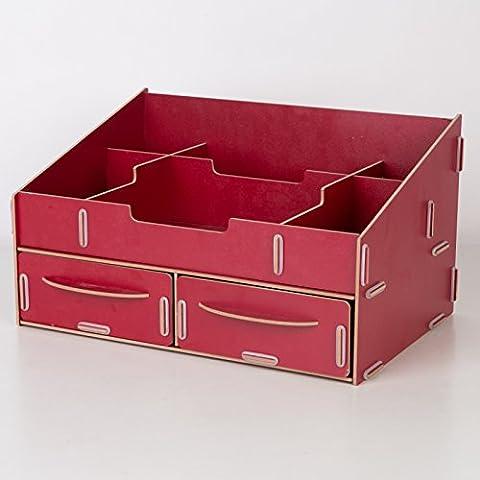 Desktop cosméticos admitir cartucho de madera del cajón portaobjetos cosméticos admitir rack rack multicapa ,137 - Watermelon Red