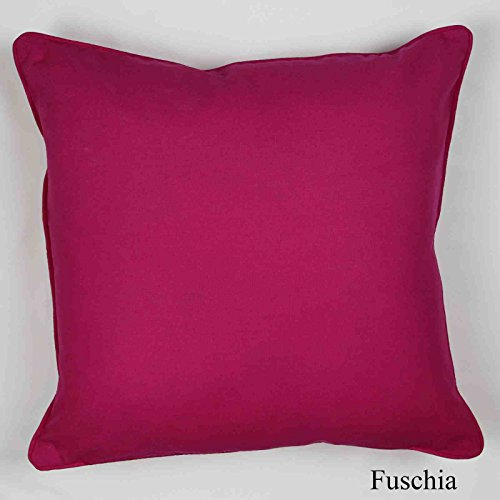 "Best Quality Plain Dyed 100% Cotton Cushion Covers 16"" x 16"" (Fuschia)"