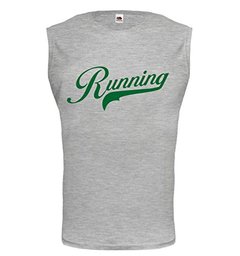 buXsbaum® Tank Top Running Logo Heathergrey-Bottlegreen