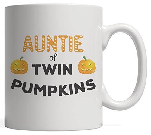 Auntie Of Twin Pumpkins Aunties Mug - Funny Halloween Day Aunt Gift For Aunty Of Twins Boys Or Girls On Mothers Day! With Two Scary Pumpkin For Aunts On October 31 Night Out Party!