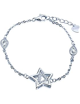 Unendlich U Elegant Stern Herz Tropfen Mädchen Charm-Armband 925 Sterling Silber Zirkonia Armkette Verstellbar...