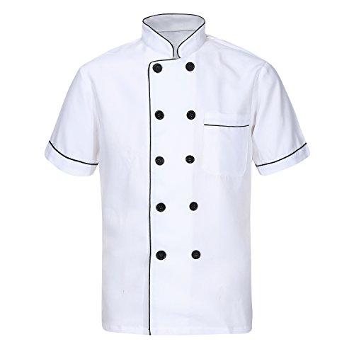 Unisex Herren Kochjacke wei kurzarm langarm Baumwolle Kche Hotel Kochkleidung Uniform Berufsbekleidung mit knpfen CFM0001, Wei, XXL