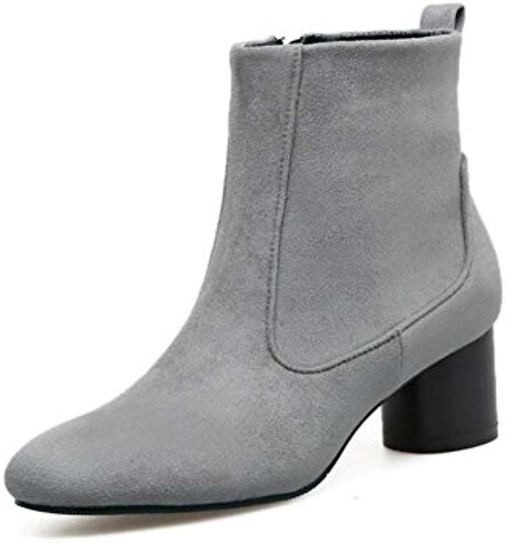 5cm Chunkly Heel Round Toe Seude Bootie Bottes Femmes Femmes Femmes Simple Pure Color Zipper Bottes courtes Court Shoes Chaussures...B075STJDDTParent 6b22cc