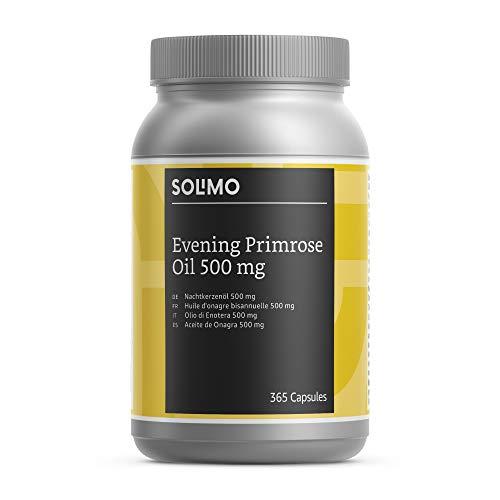 Marca Amazon - Solimo Complemento alimenticio a base de aceite de onagra 500 mg con vitamina E, 365 cápsulas
