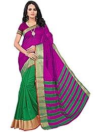 Krishna Enterprises Poly Cotton Silk Pink And Green Color Women Saree, Ladies Saree 500 Rupees, Saree 200, Saree...