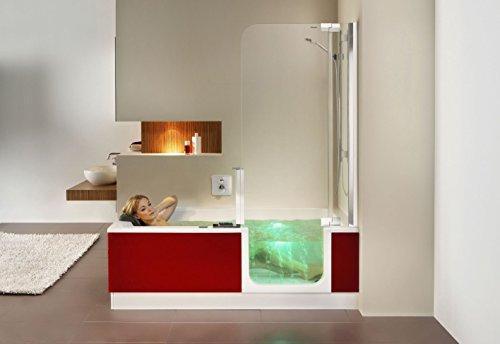 Artweger Twinline 2 Whirlpool Badewanne mit Glas Türe und Dusche Türe links mit Wanneneinlauf