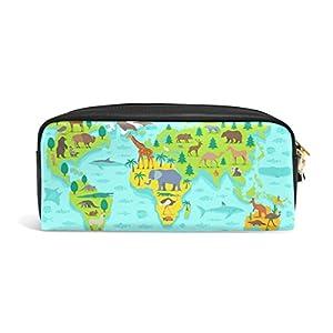 bennigiry Cartoon Kids mapa del mundo gran capacidad estuche, Kids niños estudiantes lápiz bolsa bolsa bolsa para viajes escuela pequeña bolsa de cosméticos