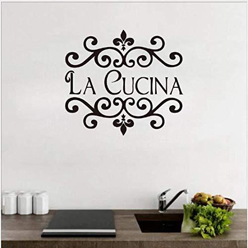 Liushop Cuisine Sticker Mural Italien Maison Citation Cuisine Décoration Murale Fleur Cuisine Coupé Vinyle Décor Imperméable À L'Eau Mur Art Mural62 * 56 cm Fleur Coupe