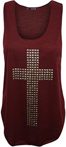WearAll - Damen Kreuz Nagel Ringerrücken Ärmellos Elastisch Unterhemd Top - Pflaume - 36-38 (Pflaume Top T-shirt)
