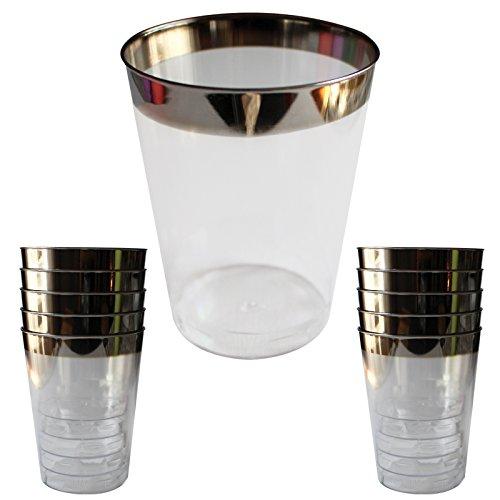 24 Kunststoffbecher im Kristallglasstil Plastikbecher - wiederverwendbare Becher - für Partys, Hochzeiten, Campingausflügen, Strand und Picknick – geeignet für die oberste Lade im Gesch (Acryl-krug Und Glas-set)