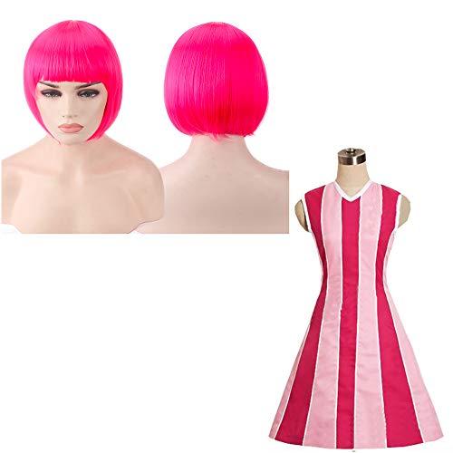 Halloween Kostüm Town - thematys Stephanie Lazy Town Kostüm + Perücke pink - Kleid für Damen - perfekt für Fasching, Karneval & Cosplay - 4 Verschiedene Größen (M)