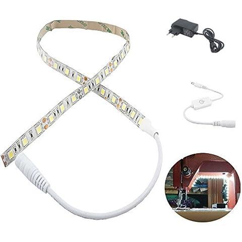 Bonlux 12V dimmerabile Macchina da cucire LED Kit di illuminazione, Macchina Luci LED LED attaccabile da cucito striscia chiara flessibile di lavoro Kit 60cm - Adatto tutte le macchine da cucire