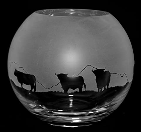 15cm Crystal Glass Globe Vase with HIGHLAND CATTLE FRIEZE *Cattle Gift*