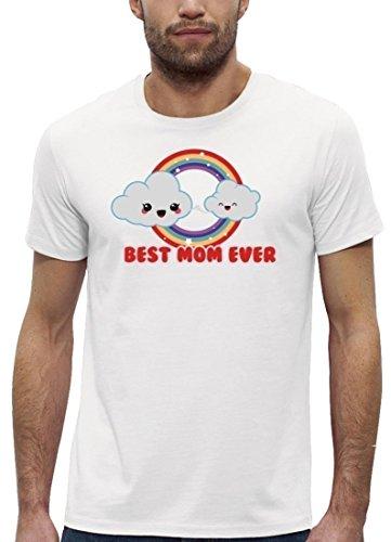 Muttertag Premium Herren T-Shirt aus Bio Baumwolle mit Cloud Best Mom Ever Marke Stanley Stella White