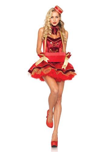 Leg Avenue 85022 - Vintage Zigarette Mädchen Kostüm Set, Größe L, rot (Zigarette Mädchen Halloween Kostüme)