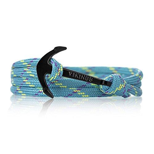 Anker Armband Nylon COLORFUL Modeschmuck Maritim Unisex, Ankerfarbe: Schwarz (Barbados)