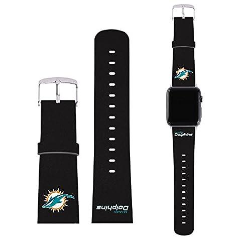 Officiel NFL Plaine Miami Dolphins Logo Bracelet De Cuir à Boucle Synthétique Noir pour 38mm Strap & Silver Adapter Kit