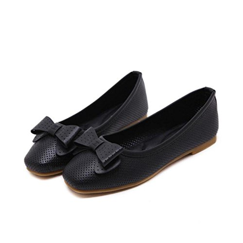 Lemon&T Style de Autumn Vintage Spring PU Upper Tissu Round-toe Women Rubber Sole bowknot Chaussures Hollowed respirante Appartement apricot