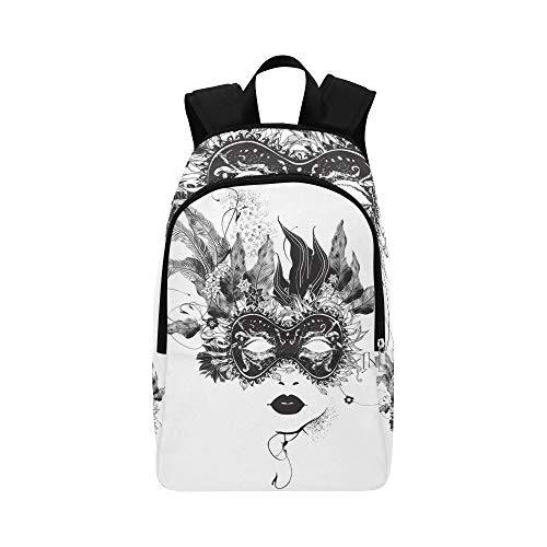 Abstrakte Frau Maske Blumen Schwarz Weiß Lässig Daypack -
