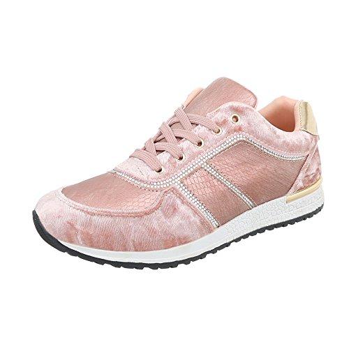 816c47a3353ff9 Ital-Design Sneakers Low Damenschuhe Sneakers Low Sneakers Schnürsenkel  Freizeitschuhe Pink G-23