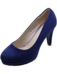 c0d2bfd777 HeelzSoHigh Ladies Navy Low-Heel Smart Work Slip-On Casual Comfy Court Shoes  Sizes