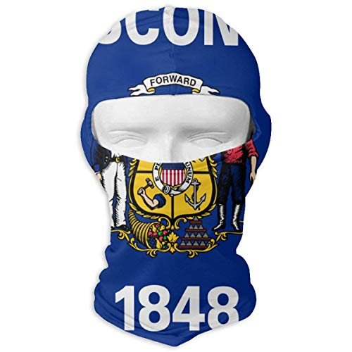 Sdltkhy Flag of Wisconsin Winter Ski Mask Balaclava Hood - Wind-Resistant Face Mask Multicolor18 - Wisconsin Bb