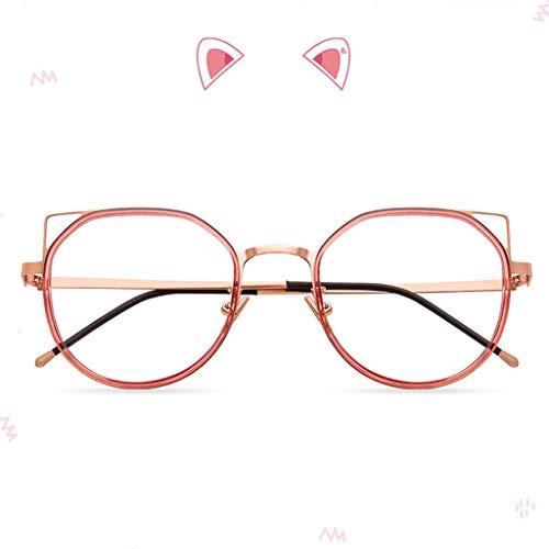 Blaulicht Schutzbrille Blaulicht-blockierende GläserRetro-Metall-Brillengestell-Persönlichkeit-Flache Gläser Mode-Gezeiten-Rosengold ZHAOSHUNLI