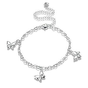 Bishilin Charm Fußkette Silber Damen mit Herz Schmetterling Anhänger Knöchelkette Boho Strand Kette Silber