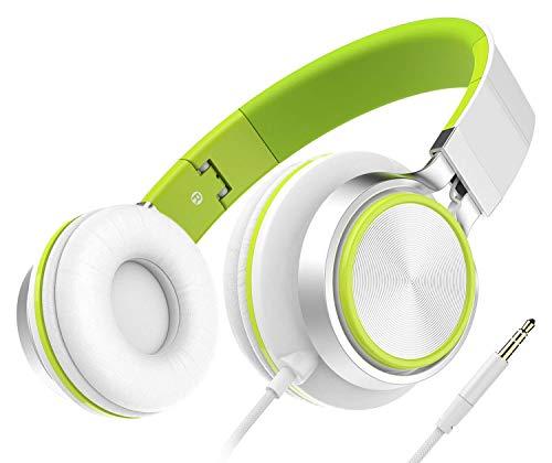 Auriculares, Audífonos Honstek Plegables y Ligeros, Auriculares Cómodos con Cable Estéreo para iPhone iPad Android Teléfonos celulares Computadoras Tabletas MP3/MP4 (Blanco/Verde)